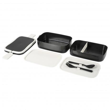 Контейнер для завтрака ФЛОТТИГ черный, белый фото 3